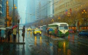 street_city_rain_tram_people_umbrellas