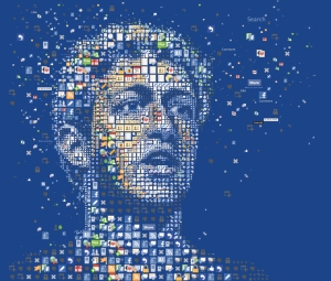 Mark Zuckerberg mosaic portrait made up of Facebook icons
