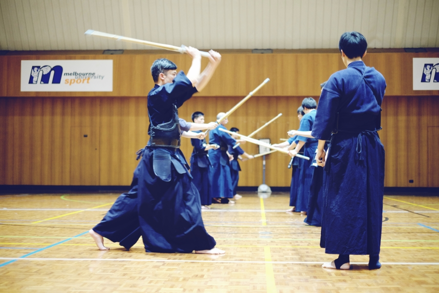 a training session at muken melbourne university kendo club